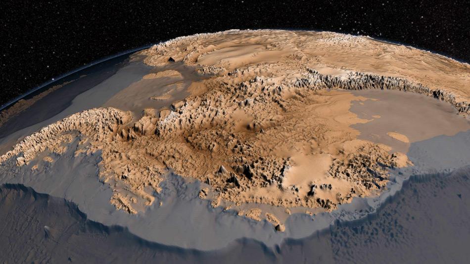 Diese hochaufgelöste Karte zeigt die Topographie unter den Gletschern Antarktikas. Man nimmt an, dass viele der Gebiete eisfrei sind und sogar Wasser durch Flussbette fliessen könnte. Bild: NASA
