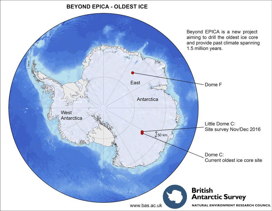 Für die Standortwahl der Eisbohrung konzentrieren sich die Wissenschaftler des BE-OI Teams auf zwei Gebiete, dort hoffen sie das älteste Eis der Erde zu finden: Dome C und Dome F in der Ostantarktis (Bild: British Antarctic Survey)
